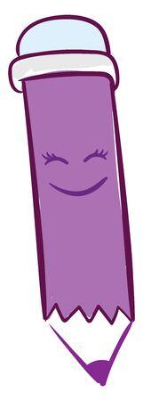 Happy purple pen, illustration, vector on white background. Illustration