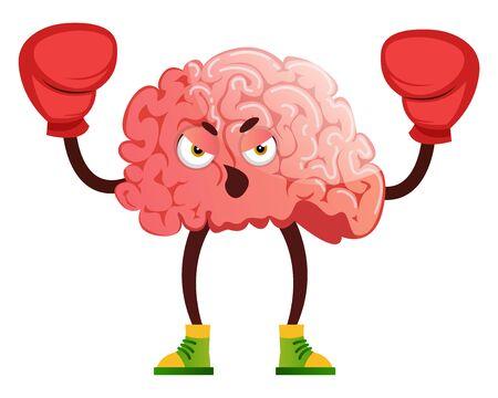 Brain is boxing, illustration, vector on white background. 矢量图像