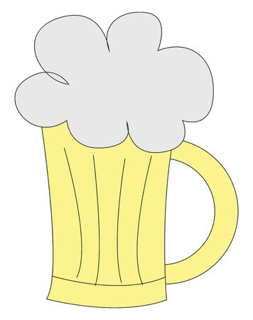 Beer is an alcoholic drink made from grain and hops., vector, color drawing or illustration. Ilustração