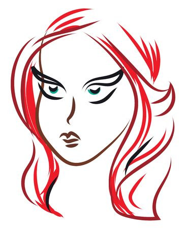 A colour sketch of a girl with red hair, vector, color drawing or illustration.