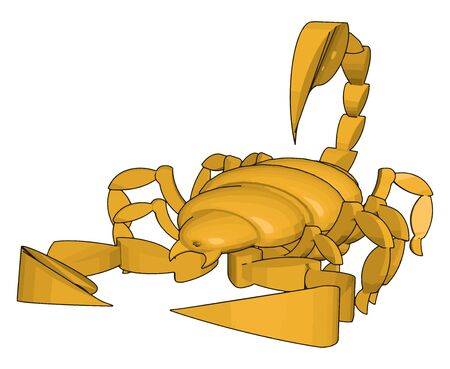 Mode of a 3d scorpion, illustration, vector on white background. Illustration