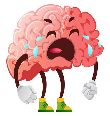 Brain is crying, illustration, vector on white background. Illustration
