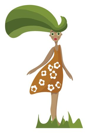 A girl with long flowing hair wearing a flowery dress, vector, color drawing or illustration.