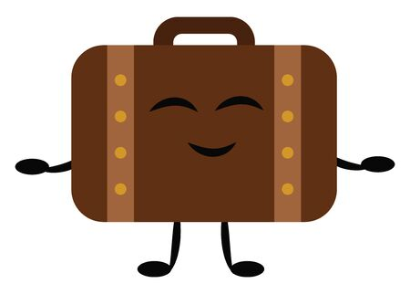 Briefcase is a case with a handle, especially for carrying business documents., vector, color drawing or illustration. Vettoriali