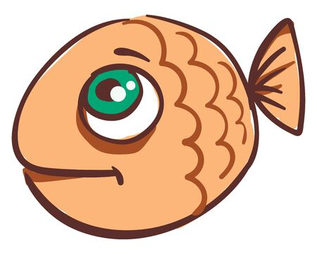 A small tiny, brown round fish with green eyes and tiny tail, vector, color drawing or illustration.