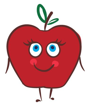 A colored drawing of red color happy apple with green leaves., vector, color drawing or illustration.