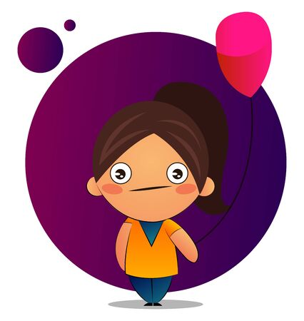 Girl with brown ponytail with a red balloon, illustration, vector on white background. Illustration