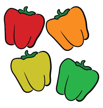 Multi color peppers, red, orange, yellow and green, vector, color drawing or illustration. Ilustracja