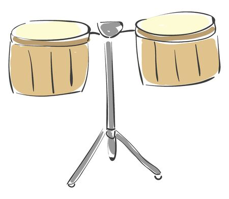 Painting of the percussion timbale drum set are shallow single-headed drums with metal casing used traditionally or as an addition to a drum kit, vector, color drawing or illustration.
