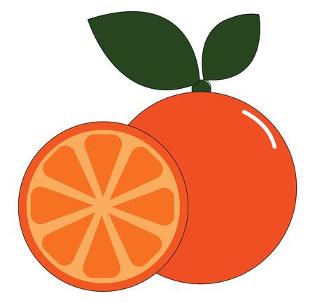 Orange with two green leaves and a cut slice of orange, vector, color drawing or illustration.