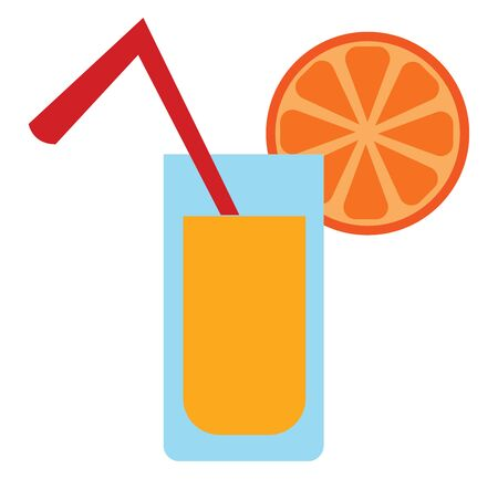 A healthy orange juice in a glass with straw and orange slice, vector, color drawing or illustration. Ilustracja
