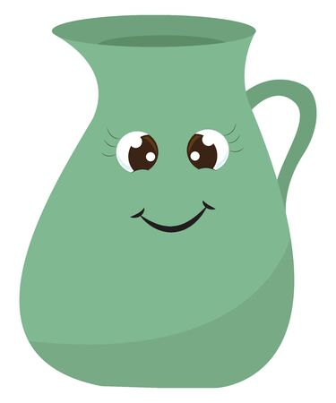A smiling light green jug feeling happy, vector, color drawing or illustration.