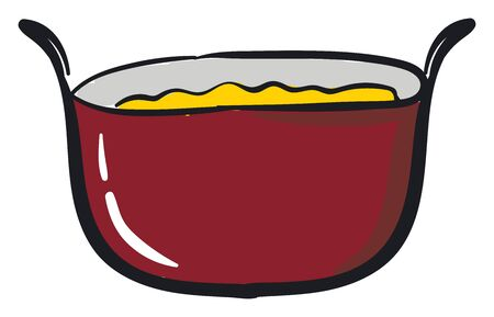 A red color sauce pan with yellow liquid and two handles, vector, color drawing or illustration.