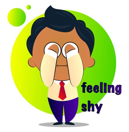 Shy boy in a suit with curly black hair covering eyes, illustration, vector on white background. Illustration