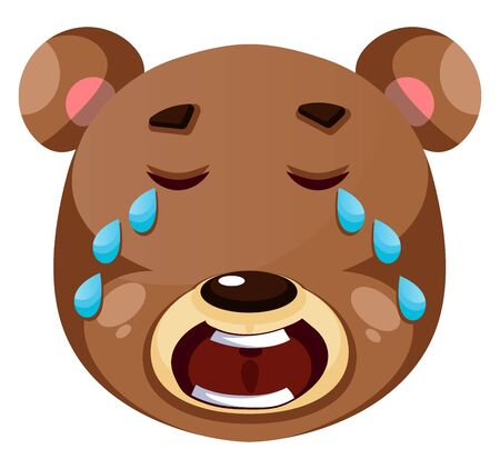 Brown bear crying, illustration, vector on white background.
