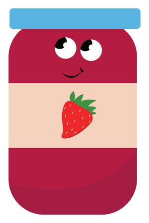 A pink strawberry sweet jam in a glass jar with a blue lid. Looks yummy, vector, color drawing or illustration. Çizim