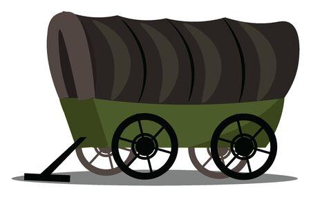 Dies ist ein Bild von Planwagen. Wagen ist ein Fahrzeug, das für den Transport von Waren und anderen Dingen verwendet wird., Vektor, Farbzeichnung oder Illustration.