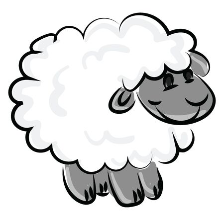 Happy little lamb, illustration, vector on white background. 矢量图像