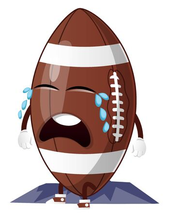 Rugby ball is crying, illustration, vector on white background. Standard-Bild - 132701540