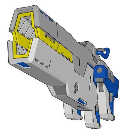 Laser gun, illustration, vector on white background. Illustration