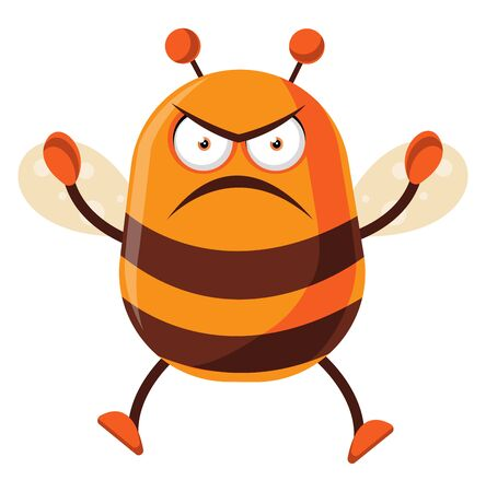 Bee is angry, illustration, vector on white background.