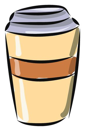 A coffee cup brown in color with blue lid for instant coffee, vector, color drawing or illustration.