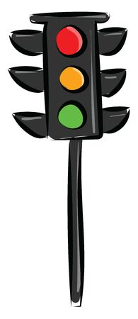 Traffic light on a black pole with all three colors, vector, color drawing or illustration.