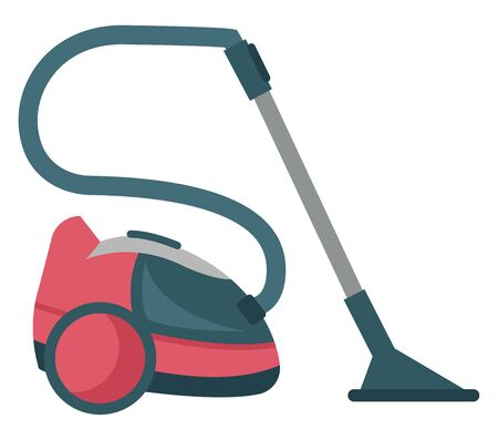 Red and black colored vacuum cleaner with attachment, vector, color drawing or illustration.