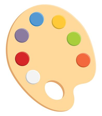 Painting palette with variety of colors on the brown palette, vector, color drawing or illustration.