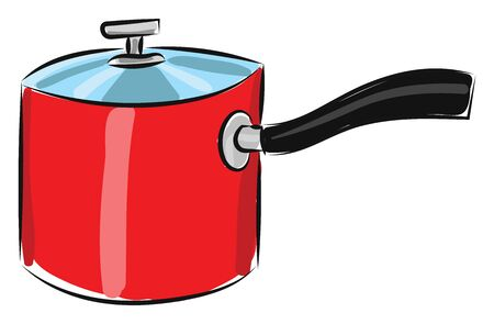 A red color pan with transparent lid and a black handle, vector, color drawing or illustration. Standard-Bild - 132700592