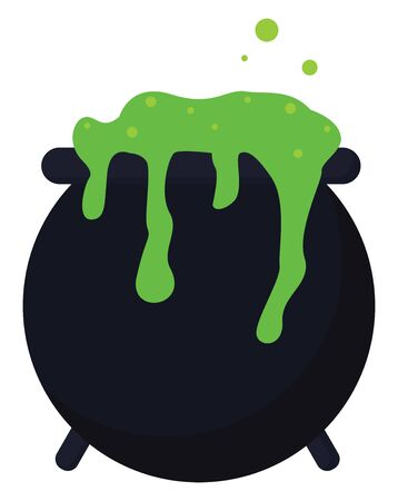 A black colored big cauldron with a green colored liquid dropping off from it, vector, color drawing or illustration. Иллюстрация