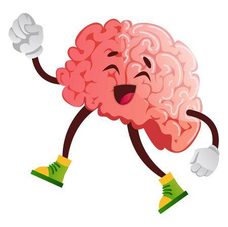 Brain going for a walk, illustration, vector on white background. Ilustração
