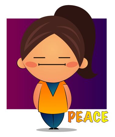 Girl with brown ponytail and purple background feeling peace,  illustration, vector on white background. Illustration