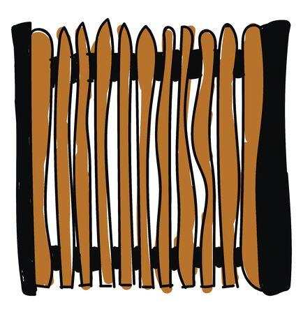 Wooden gate, illustration, vector on white background. Banco de Imagens - 132792031