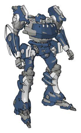 Blue model of robot, illustration, vector on white background.