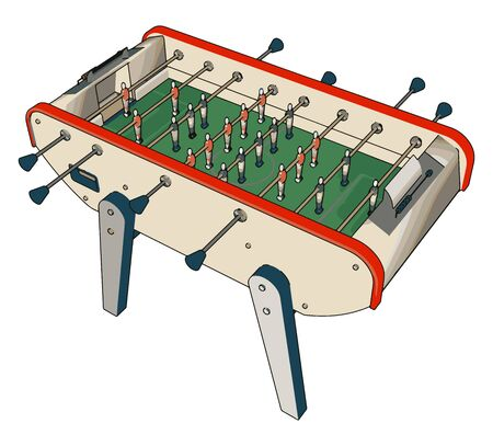 Table football toy, illustration, vector on white background.