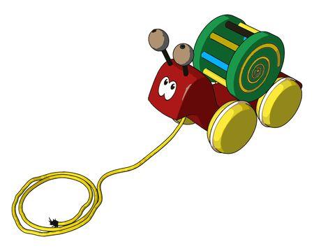 Little snail toy, illustration, vector on white background. Illustration