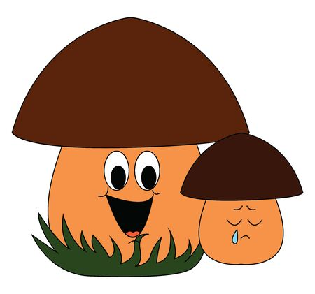 Baby mushroom, illustration, vector on white background. Çizim