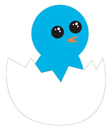Blue bird from egg, illustration, vector on white background.