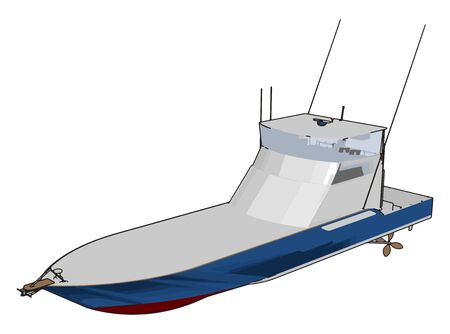 Model of speed boat, illustration, vector on white background.