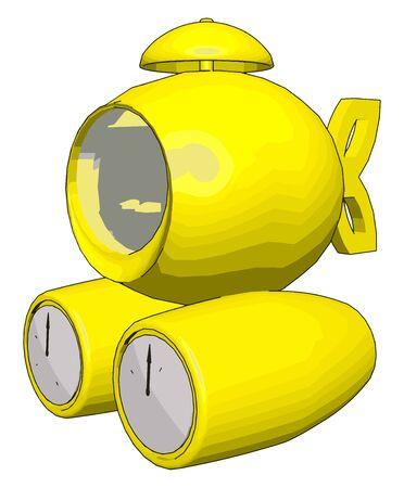 Yellow submarine, illustration, vector on white background.