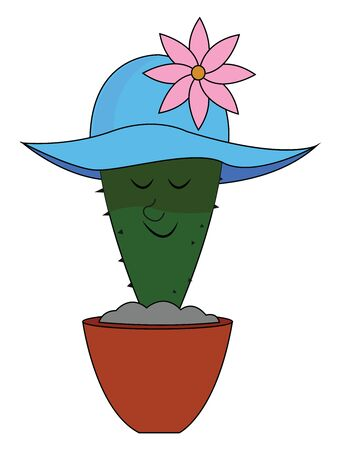 Cactus with blue hat, illustration, vector on white background.