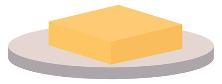 Butter on a plate, illustration, vector on white background.