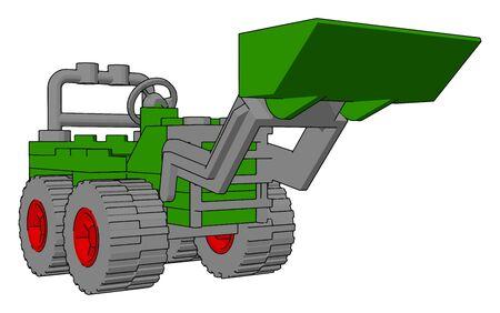 Green excavator, illustration, vector on white background. Vector Illustratie