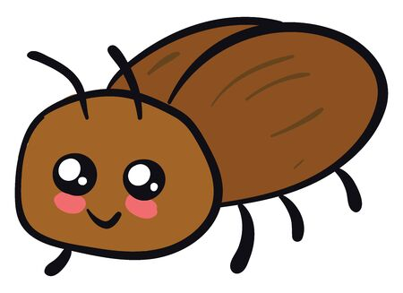 Cute beetle, illustration, vector on white background.
