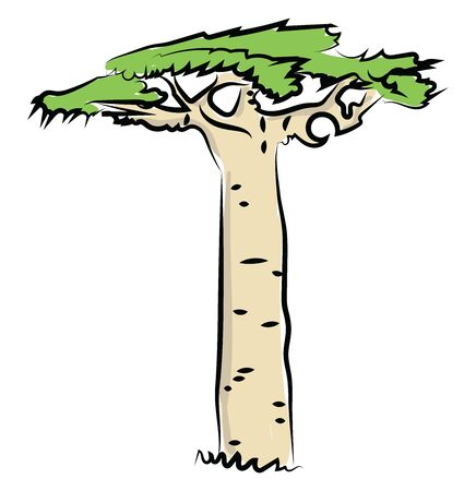 Big fat tree, illustration, vector on white background.