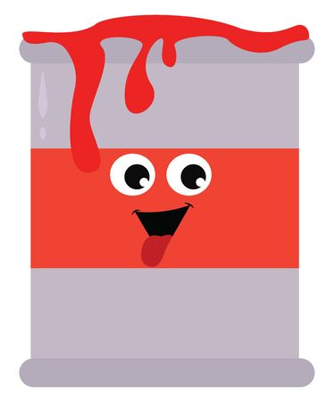Red paint can, illustration, vector on white background.