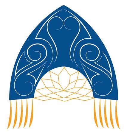Blue kokoshnik, illustration, vector on white background.