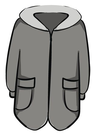 Man winter coat, illustration, vector on white background.