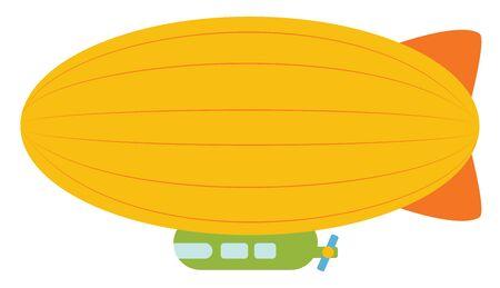 Yellow airship, illustration, vector on white background. Illustration